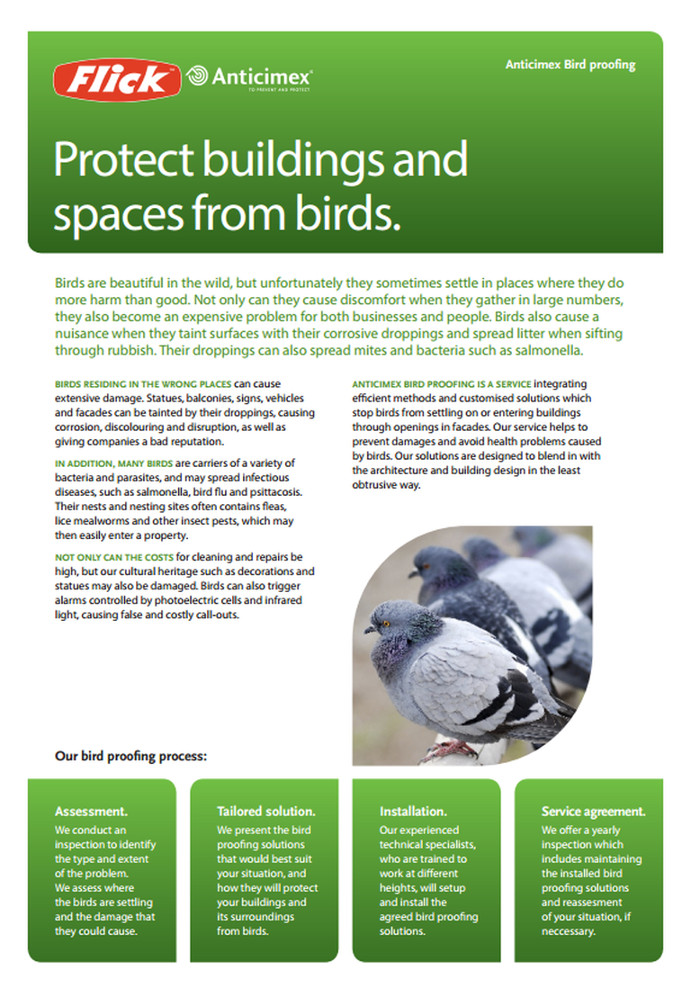 Protect buildings and spaces from birds